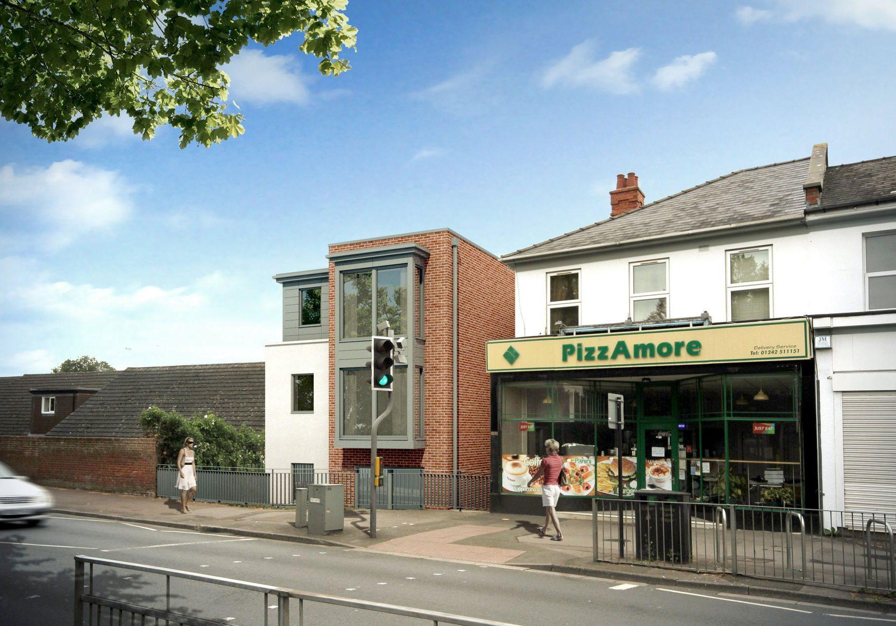 8 unit development of disused town centre site, Cheltenham